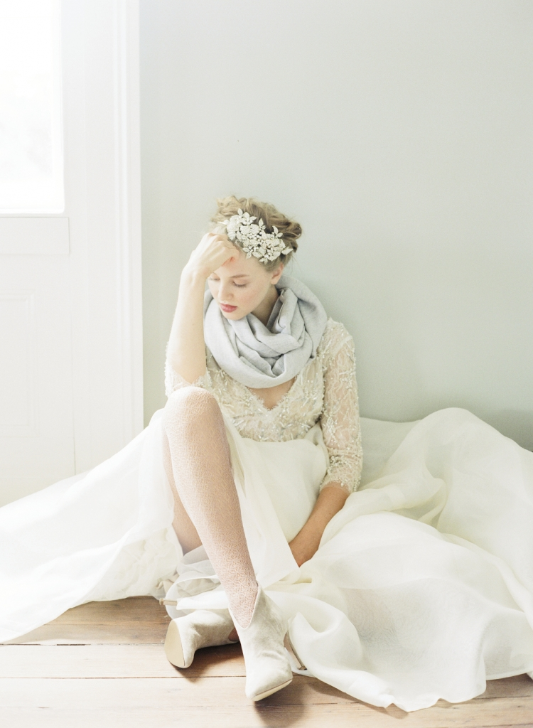 """Monique Lhuillier's  """"Cadence"""" gown with sheer, beaded top and organza skirt from Maddison Row. Bajra's gray cotton scarf from RTW. Joie's """"Jadyn"""" booties from Shoes on King. Twigs & Honey's beaded headband from LulaKate. Tights,  photographer's own. Photograph by Corbin Gurkin."""