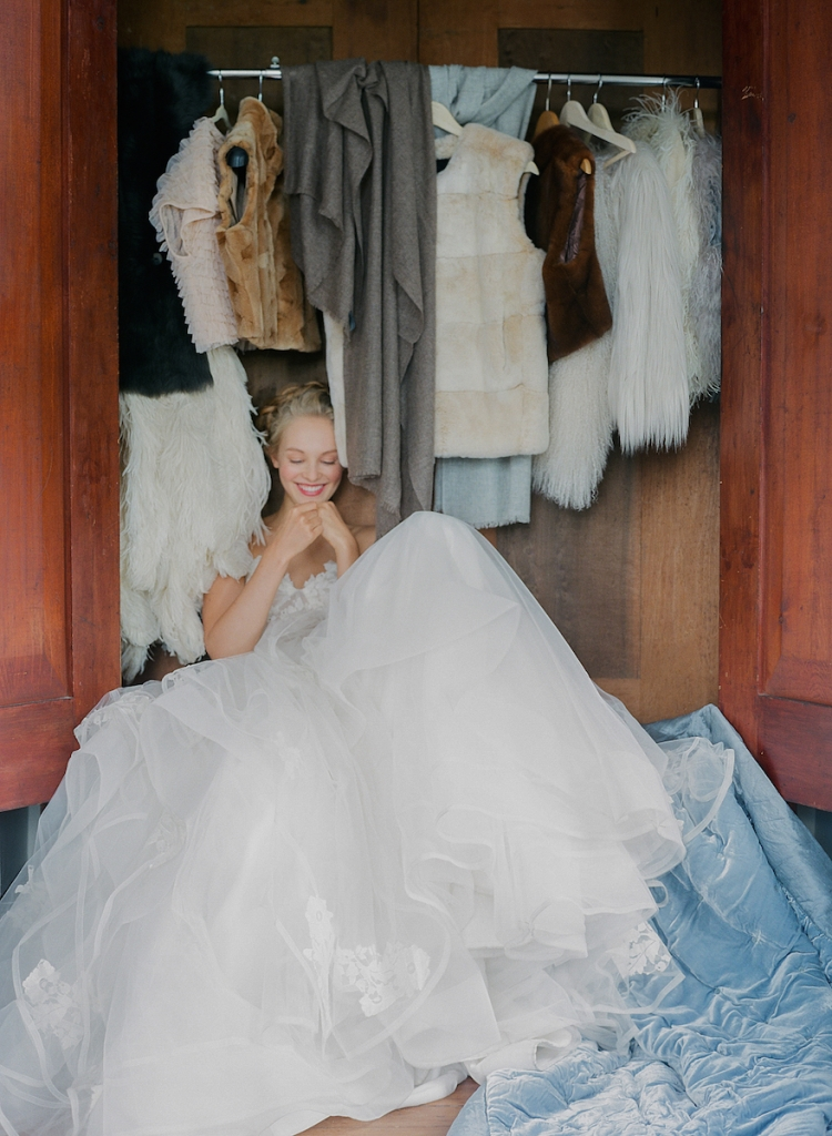 """Hayley Paige's  """"Chantelle"""" dress with corseted top and embellished ball gown skirt from White on Daniel Island. Photograph by Corbin Gurkin."""