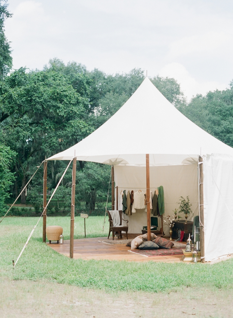 Decor and design by Yoj Events. Florals by Sara York Grimshaw Designs. Flooring and sailcloth tent from Snyder Events. Photograph by Corbin Gurkin at McLeod Plantation Historic Site.