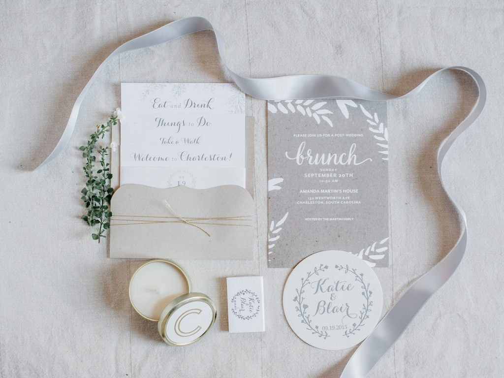 Stationery suite by Ruby the Fox. Welcome boxes by A Signature Welcome. Photograph by Brandon Lata.