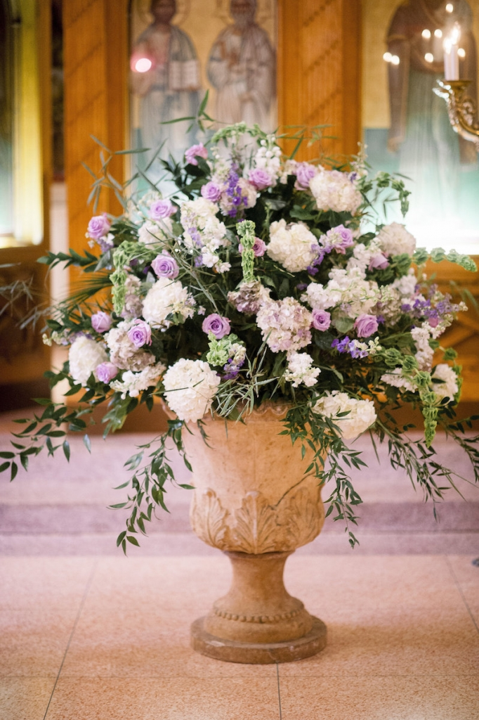 Florals by Stems Floral Design by Jonie Larosee. Image by Timwill Photography at the Greek Orthodox Church of the Holy Trinity.
