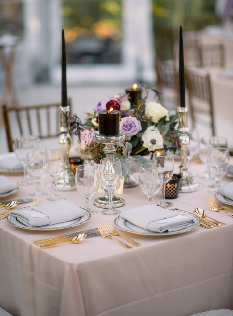 Wedding design by A Charleston Bride. China and stemware from Snyder Events. Linens from BBJ Linens. Florals by Stems Floral Design by Jonie Larosee. Image by Timwill Photography.