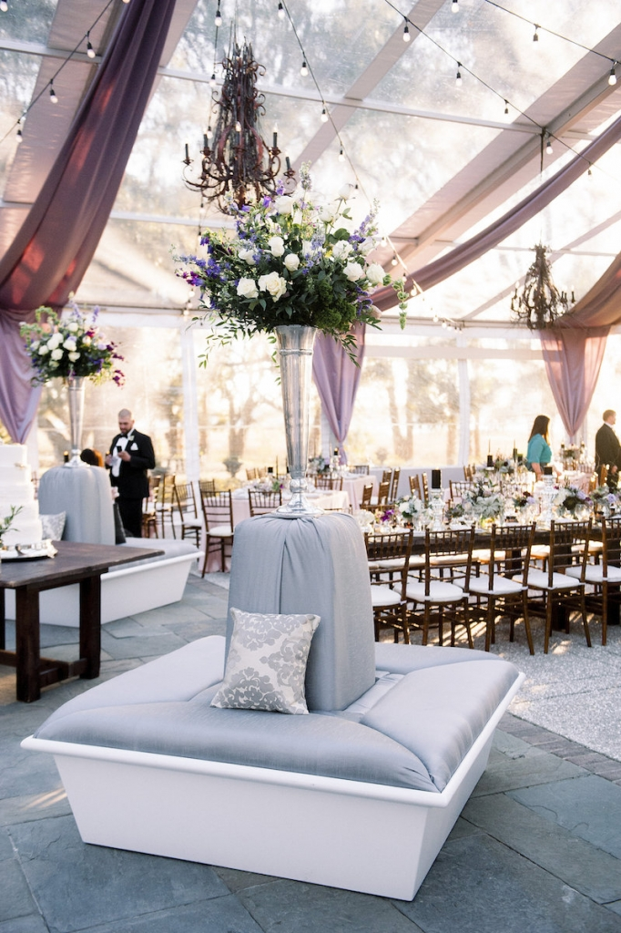 Wedding design by A Charleston Bride. Rentals by Snyder Events. Florals by Stems Floral Design by Jonie Larosee. Image by Timwill Photography.