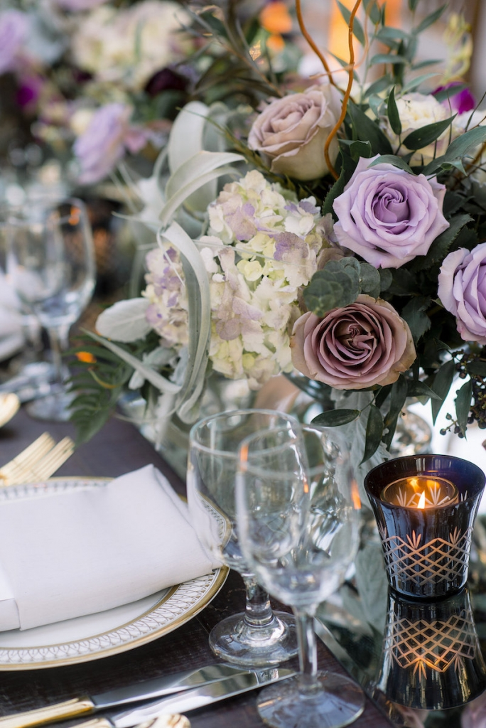 China and stemware from Snyder Events. Florals by Stems Floral Design by Jonie Larosee. Image by Timwill Photography.