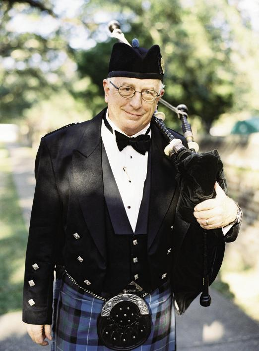 """The wedding party left the church to """"Scotland the Brave.""""  Ceremony music by Palmetto Pipes and Drums. Photograph by Tec Petaja."""