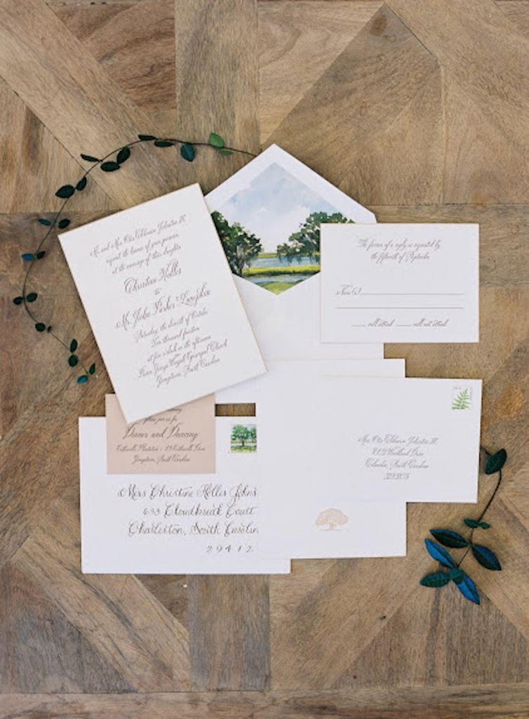 John's family property graced the watercolored invitation suite.  Stationery by Cheree Berry Paper. Photograph by Tec Petaja.
