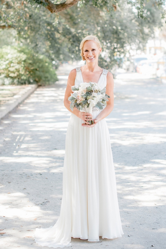 Bride's gown by Jenny Packham (available locally through White on Daniel Island). Beauty by Wedding Hair by Charlotte. Bouquet by Out of the Garden. Image by Brandon Lata Photography at Boone Hall Plantation and Cotton Dock.