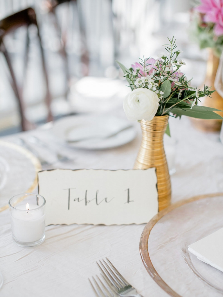 Place cards by Fancy Creative. Wedding design by Ooh! Events. Photograph by Brandon Lata at the William Aiken House.