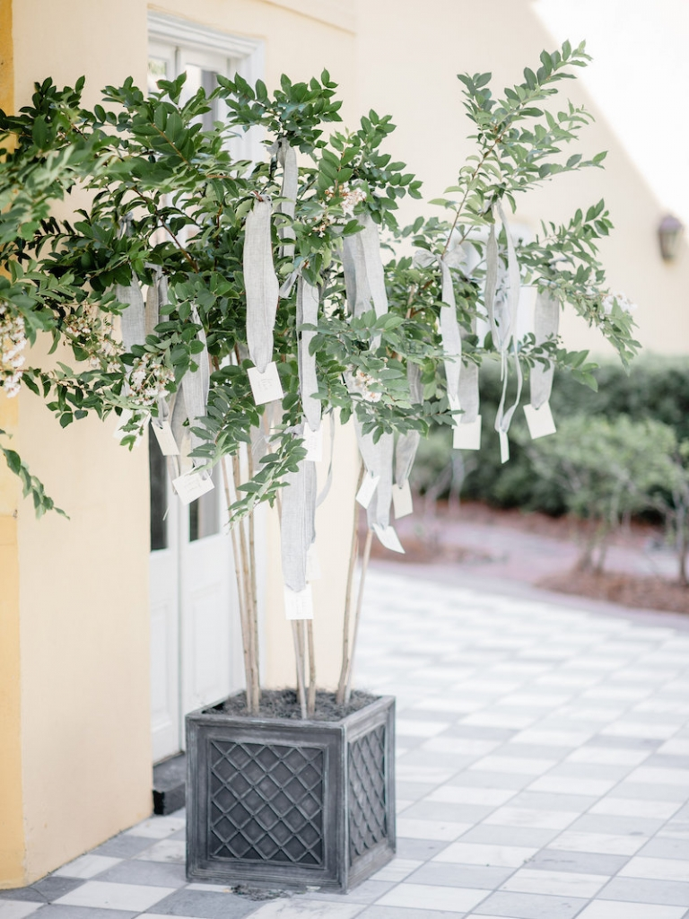 Crepe myrtles from Nancy's Exotic Plants. Wedding design by Ooh! Events. Photograph by Brandon Lata at the William Aiken House.