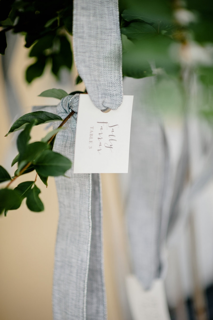 Paper goods by Fancy Creative. Crepe myrtles from Nancy's Exotic Plants. Wedding design by Ooh! Events. Photograph by Brandon Lata.