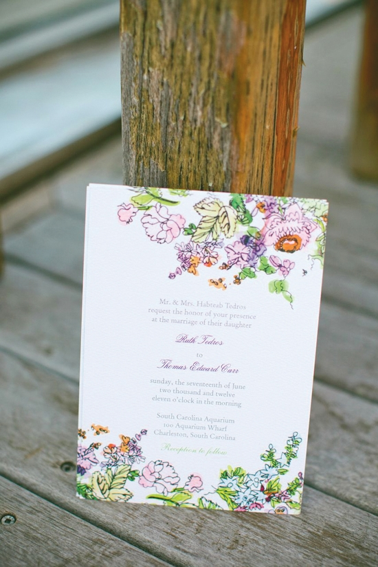 FLORAL & FESTIVE: Thomas's sister, wedding designer Heather Carr, designed a bright and cheerful stationery suite for the couple's invitations.