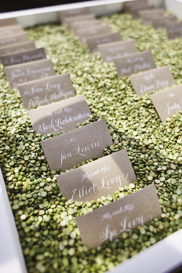 NAME THE PLACE: Atlanta calligrapher Cynthia Tyler used white ink to pen names on butler cards that were placed atop green lentils for color and texture.
