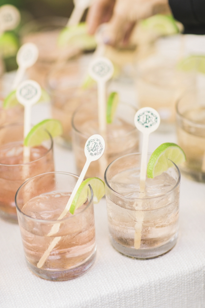 Patrick Properties Hospitality Group dropped decorative (and yes, monogrammed) swizzle sticks into cocktails.  Bar service by Patrick Properties Hospitality Group. Image by Elisabeth Millay Photography.