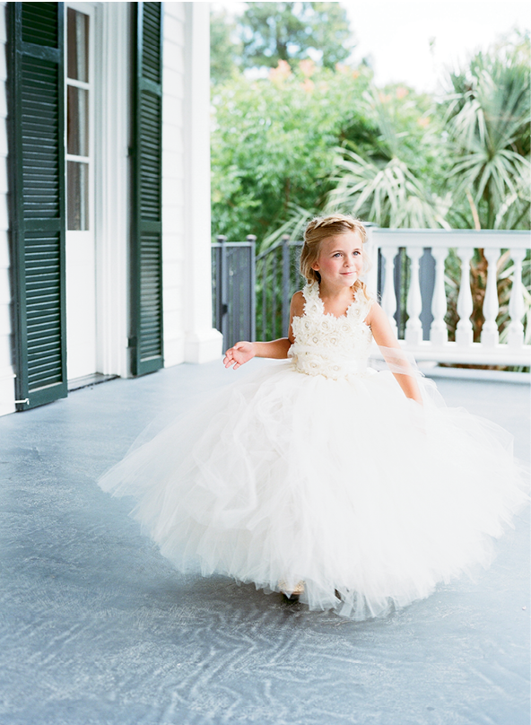 """Afton, my husband's niece, wanted to be a 'pretty princess' on the wedding day, so heavy tulle was the way to go,"" Ali says.  <i>Photograph by Gayle Brooker</i>"