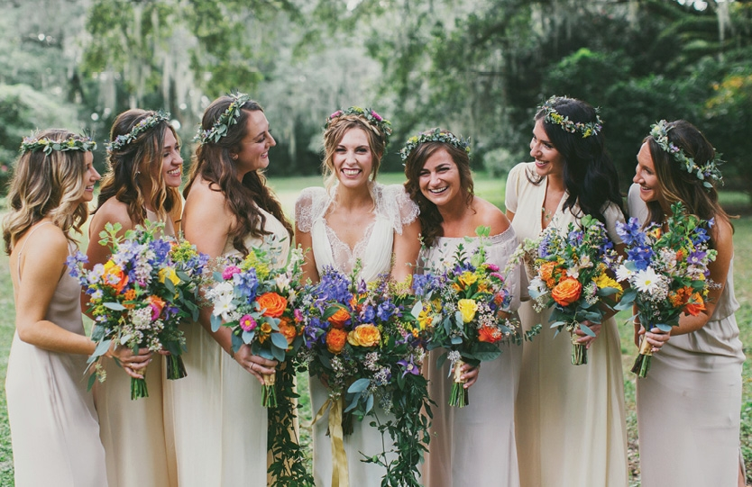 For the wedding party's look, the gals' bouquets were intended to stand out, so dresses were neutral and crowns subtle.