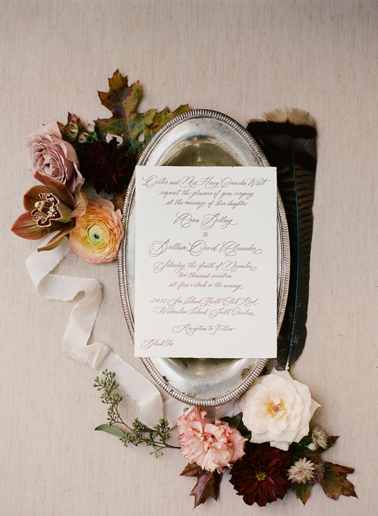 Invitations—chocolate brown calligraphy on handmade deckle edged paper—reflected the unassuming air of the fête and the tiny town of Rockville that hosted it.