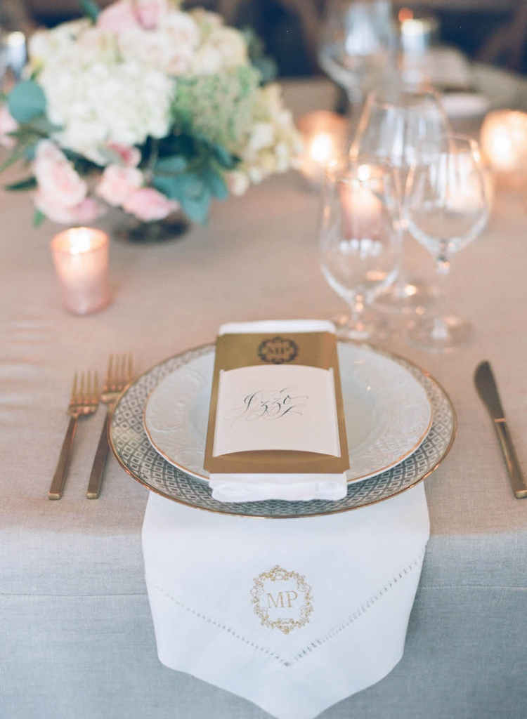 Menu by Lettered Olive. Rentals from Snyder Event Rentals. Wedding and floral design by Tara Guérard Soirée. Photograph by Elizabeth Messina at Lowndes Grove Plantation.