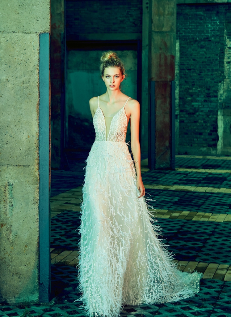 "Fanciful Feathers - Gown: ""Ava"" by Calla Blanche  Boutique: Available locally through  Verità. A Bridal Boutique"
