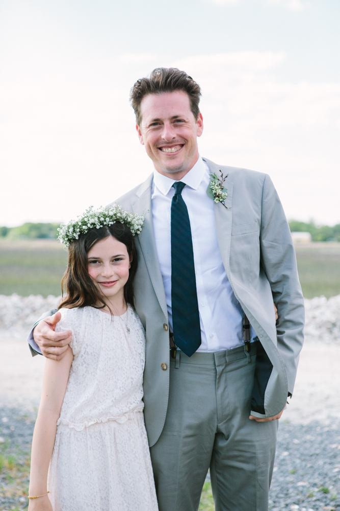 Menswear from J.Crew. Flower girl's dress from personal wardrobe. Image by Susan Dean Photography at Bowens Island Restaurant.