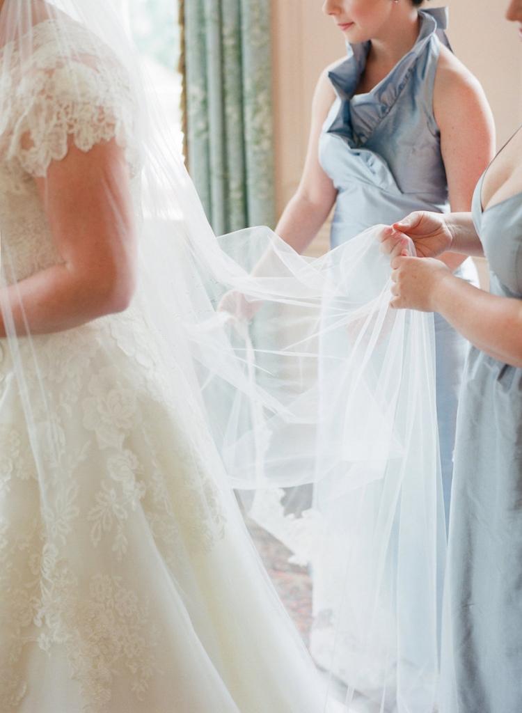 Photograph by Corbin Gurkin. Bride's attire by Oscar de la Renta. Bridesmaid's attire by LulaKate.