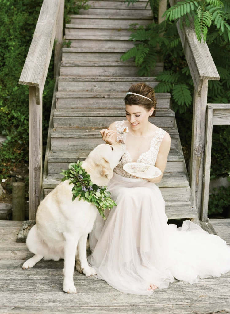 """Wtoo's """"Marnie"""" A-line gown with plunging neckline and illusion panel from Jean's Bridal. Crystal headband from Out of Hand.  """"Droplet"""" chalcedony and gold necklace from Kate- DavisJewelry.com.  Dog's floral wreath from Out of the Garden. Confetti cake by Jessica Grossman, Patrick  Properties Hospitality Group. China and silver from Polished."""