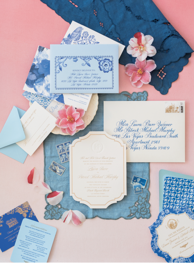 There's so much to love about this Lettered Olive stationery suite, from the die-cut card stock to the save-the-dates bordered in a pattern lifted from china used at the reception.  (Photo by Corbin Gurkin)