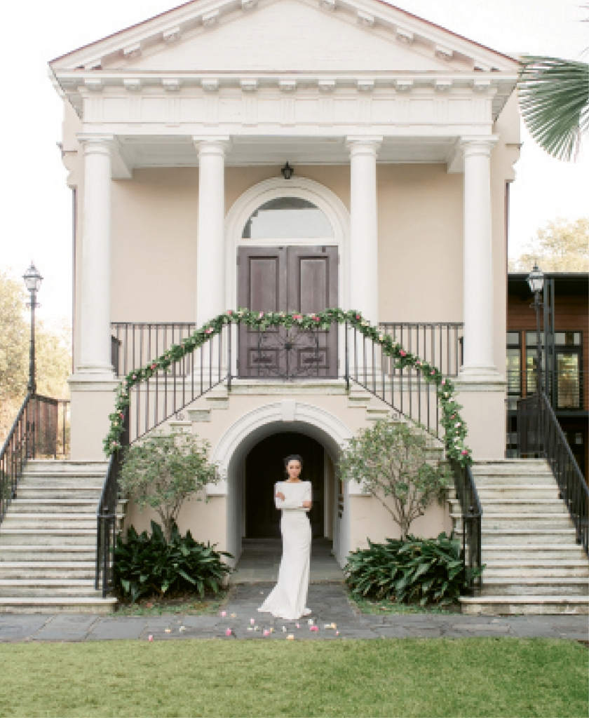 """Lela Rose's """"The Adelaide"""" silk crepe gown from Maddison Row."""
