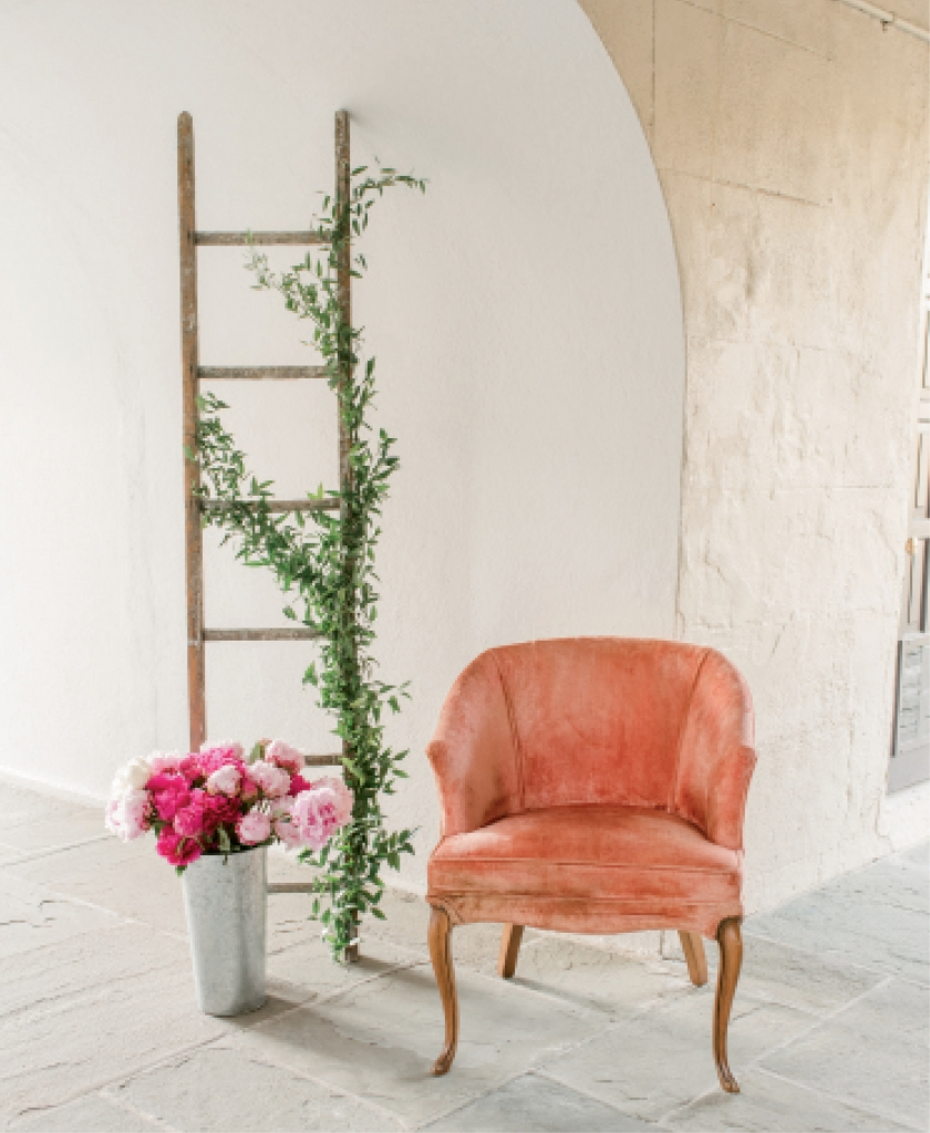 Garden ladder from Wimberly Fair Designs. Chair from Ooh! Events.