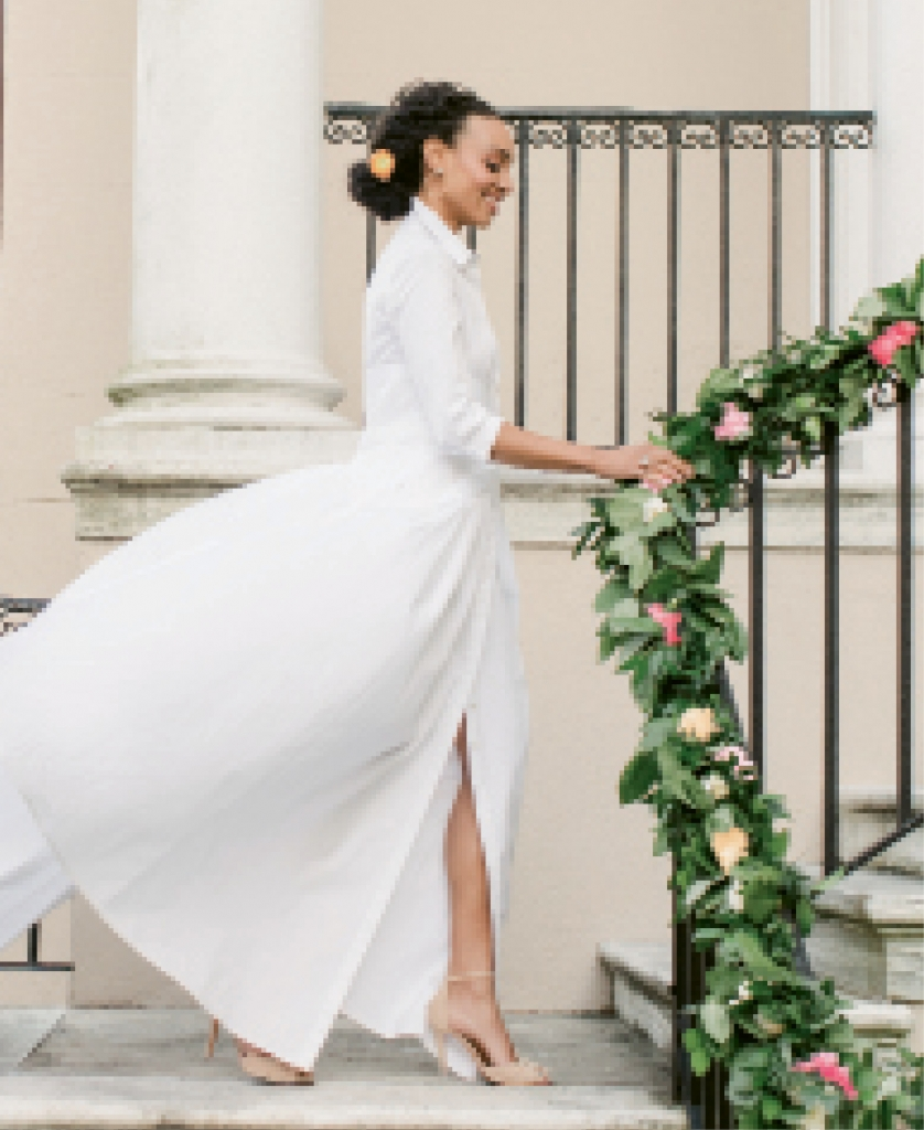 "Carolina Herrera's ""Anne"" pleated cotton gown from Betty Bridal Atelier. Diamond earrings and opal, diamond, and garnet ring, both from Croghan's Jewel Box. Tacori's prasiolite ring from Diamonds Direct. Schutz's ""Irem"" heels from Shoes on King."