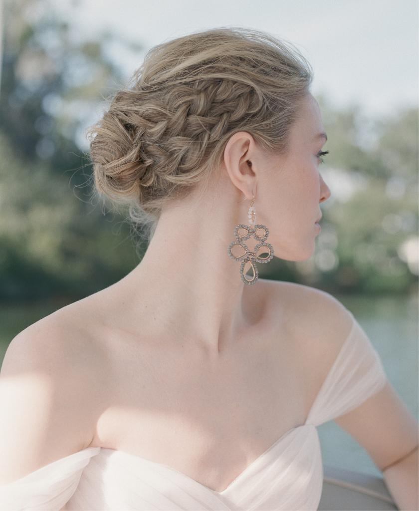 """ROMONA New York's silk tulle and lace """"RB019"""" in blush from Southern Protocol. Kira Elizabeth Design Studio's cathedral length veil from Maddison Row. Beaded earrings from Out of Hand."""