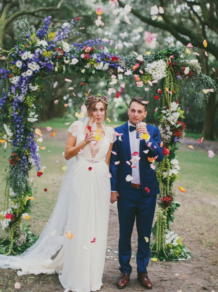 """Rather than create a carbon copy of another wedding, pick and choose elements from various sources that are """"you,"""" says Elizabeth (Liz) Mitchell Kadar, who wed Kenny Kadar October 9, 2015 at Legare Waring House."""