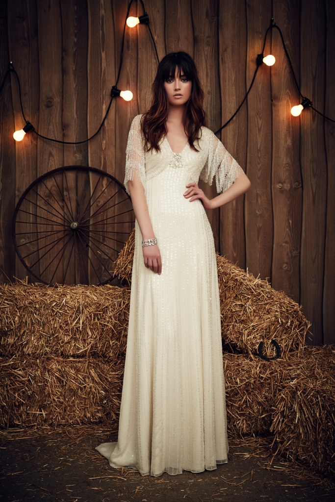 "TREND: Fringe (We love that here it shows up on the sleeves.) GOWN: Jenny Packham's ""Savannah,"" available in Charleston through White on Daniel Island"