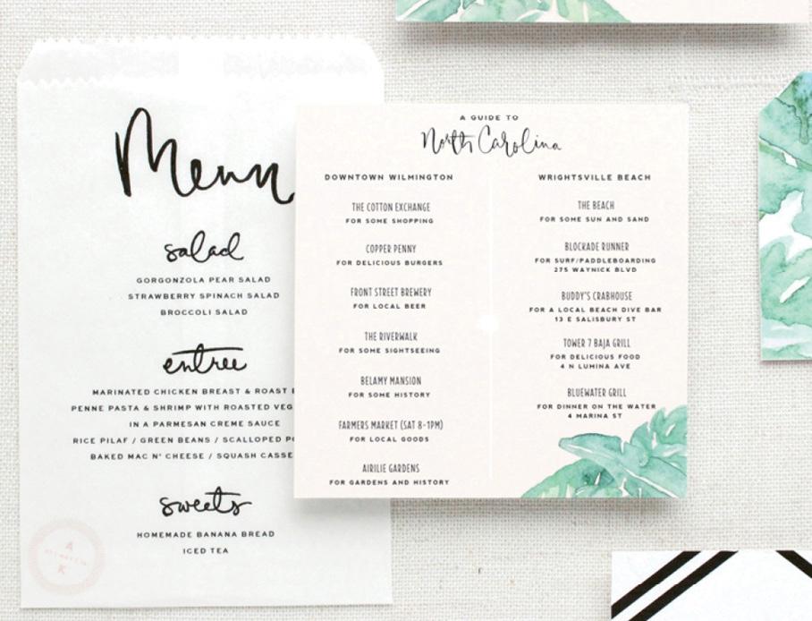 Trend: Modern Calligraphy // Menu, Guide, & Image: Saffron Avenue