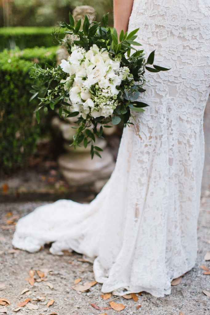 Bride's gown by Inbal Dror. Bouquet by Out of the Garden. Image by Clay Austin Photography.