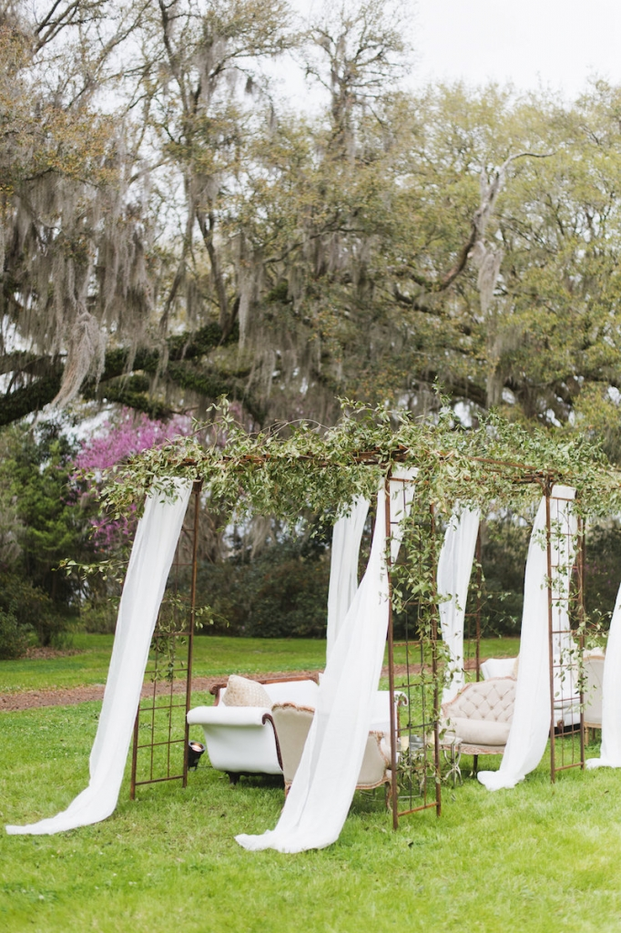 Wedding design and rentals by Ooh! Events. Florals by Out of the Garden. Image by Clay Austin Photography at Magnolia Plantation & Gardens.