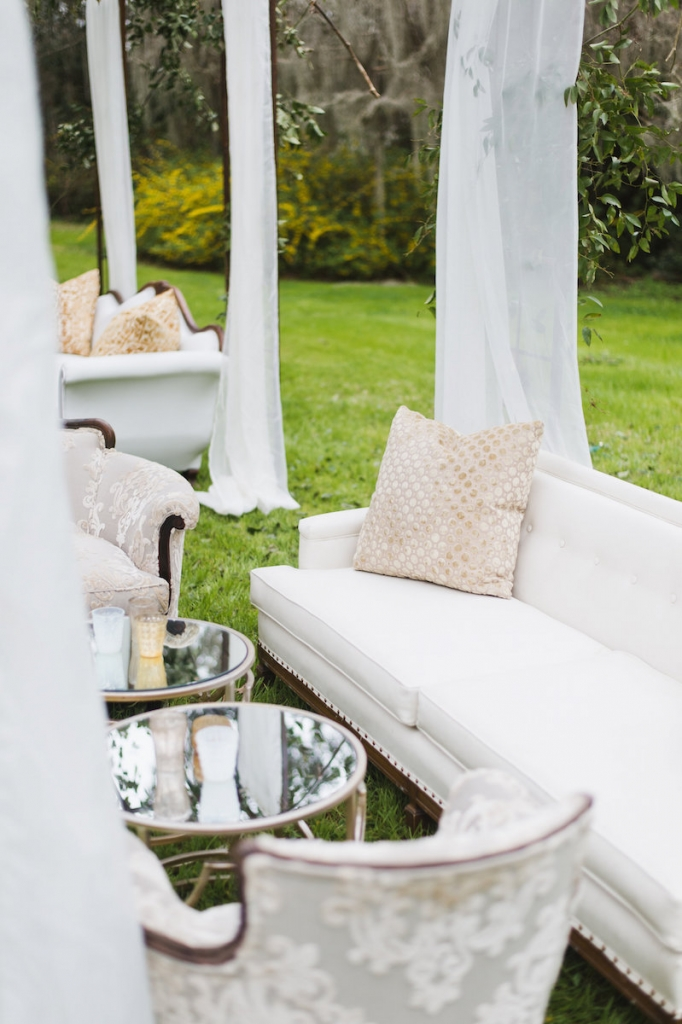 Furniture from Ooh! Events. Image by Clay Austin Photography at Magnolia Plantation & Gardens.