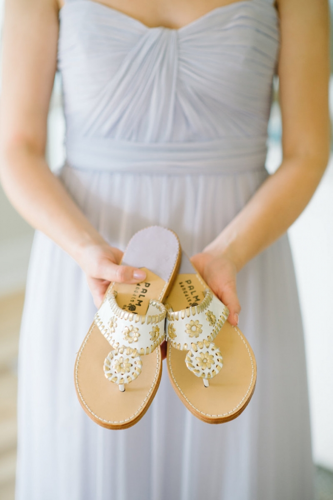 Bridesmaid attire by Amsale from Bella Bridesmaids. Sandals by Palm Beach Sandals from Bob Ellis. Image by Aaron and Jillian Photography.
