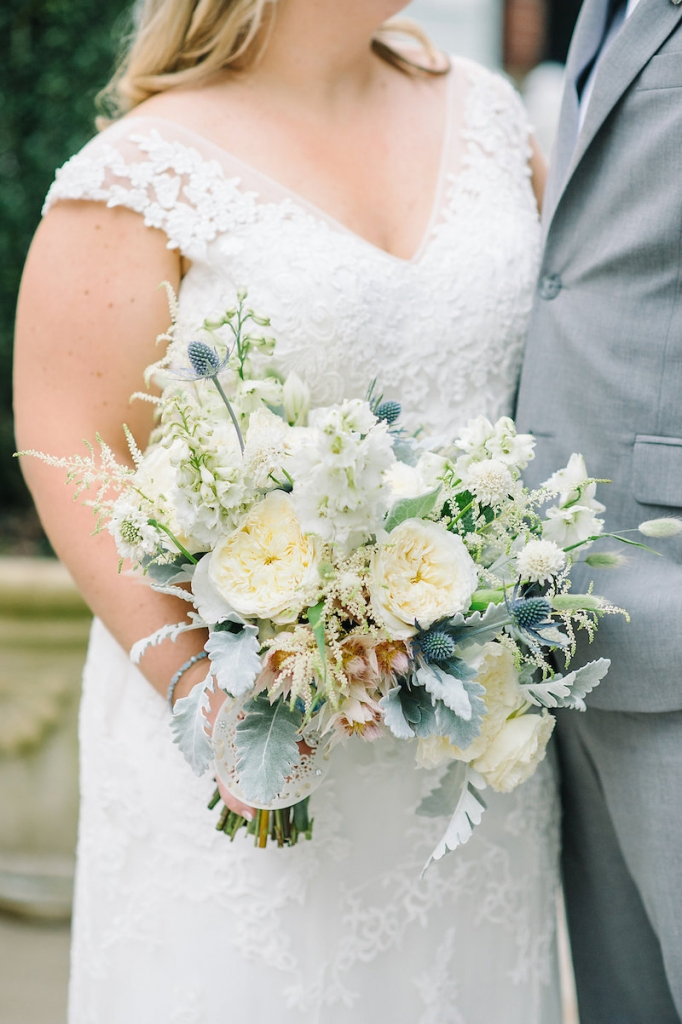 Bouquet by Branch Design Studio. Bride's gown by Maggie Sottero, available in Charleston through Bridals by Jodi. Groom's tux from The Black Tux. Image by Aaron and Jillian Photography at Wild Dunes Resort.