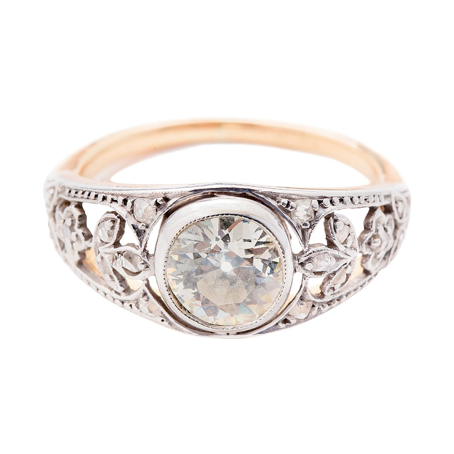14K white gold estate  ring with 1.01 ct. old-mine cut diamond center from Croghan's Jewel  Box ($5,750)