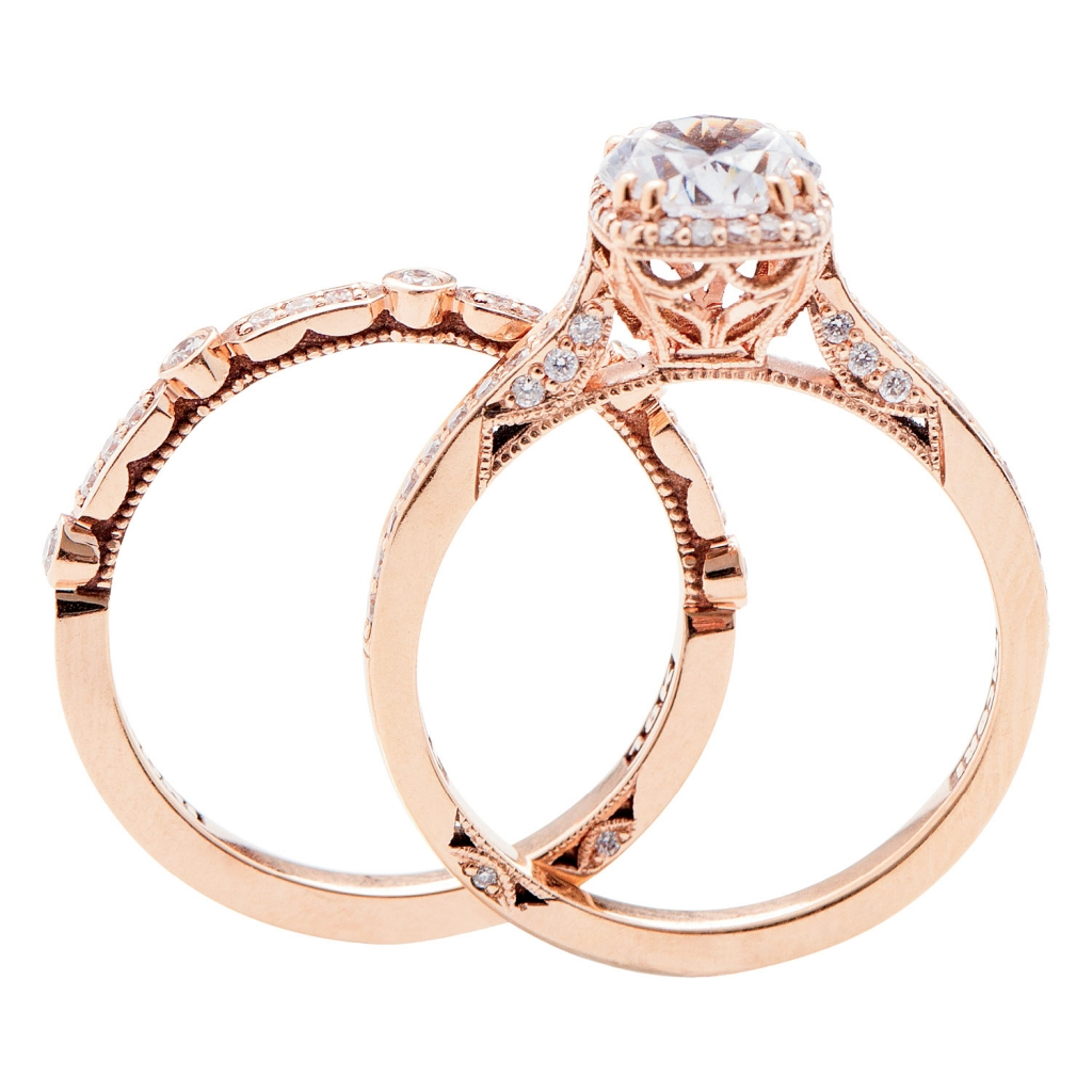 Dantela Collection by Tacori's 18K rose gold ring with diamonds (.25 total cts.; setting only) and matching band with diamonds (.15 total cts.), both from Diamonds Direct (prices upon request)
