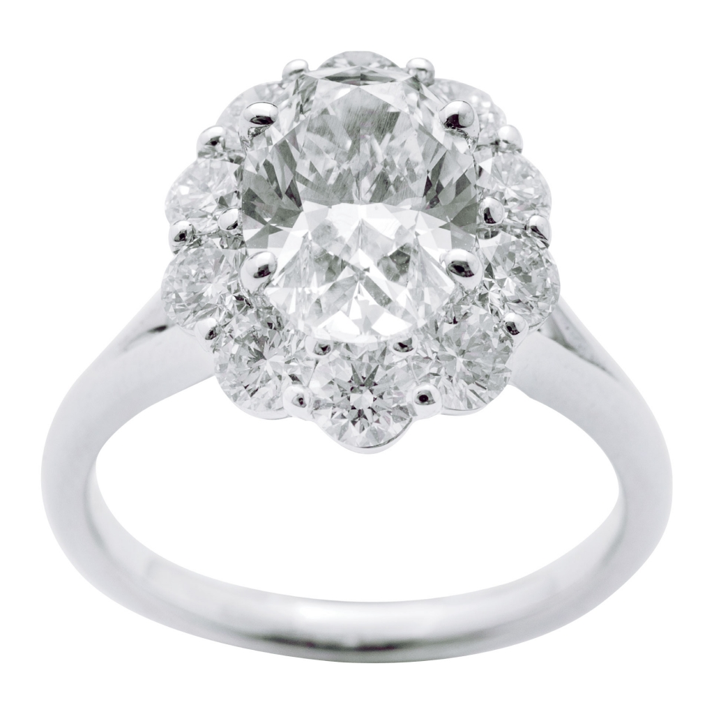 14K white gold ring with 2.01 ct. diamond center and accent diamonds (1.22 total cts.) from Polly's Fine Jewelry ($39,000)