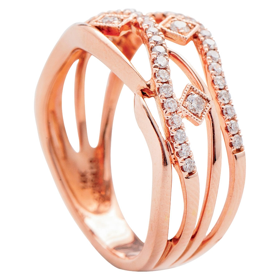 Gabrielle & Co.'s 14K rose gold ring with diamonds (.39 total cts.) from Polly's Fine Jewelry ($1,850)