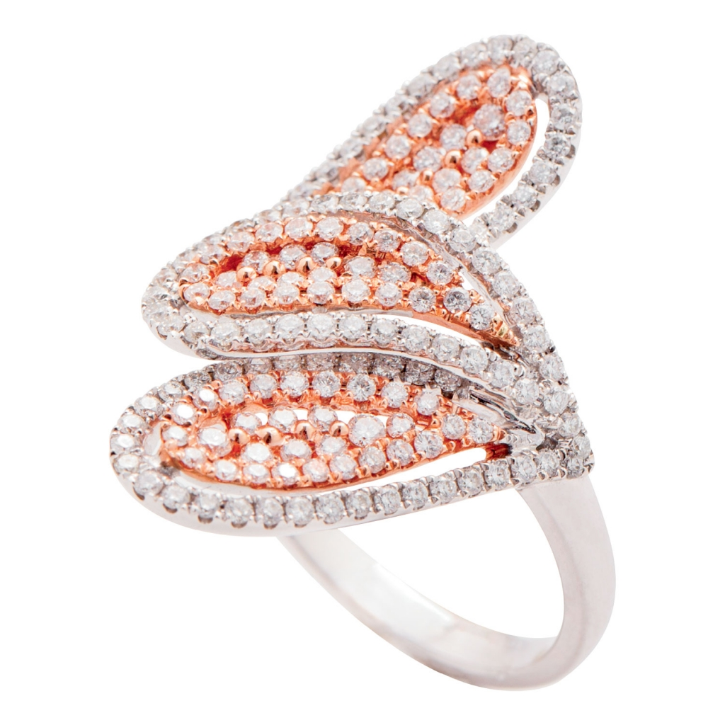 18K white and rose gold ring with three petals of white diamonds from Kiawah Fine Jewelry (price upon request)