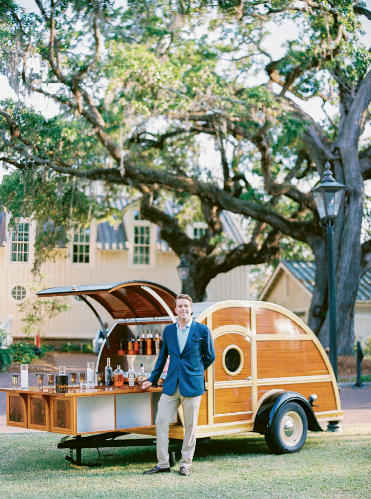 One of the newest offerings for couples tying the knot at Palmetto Bluff? The resort's natty mobile whisky bar.