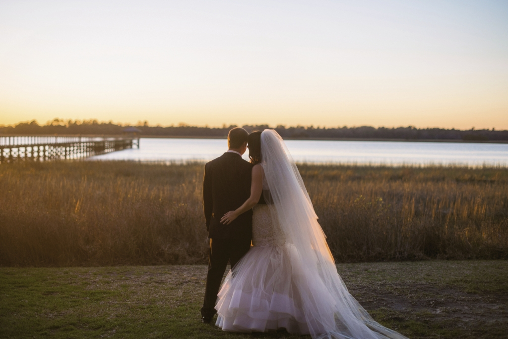 Bride's gown by Lazaro (available locally at Gown Boutique of Charleston). Image by Timwill Photography at Lowndes Grove Plantation.