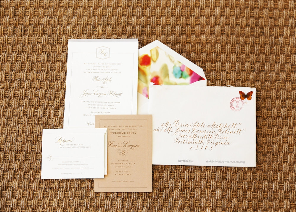 Stationery by Studio R. Calligraphy by Blue Glass Design. Image by Lindsay Collette Photography.