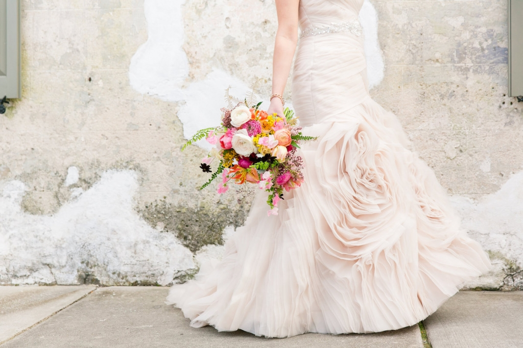 Bouquet by Branch Design Studio. Gown by Essense of Australia from Gown Boutique of Charleston. Photograph by Dana Cubbage Weddings.