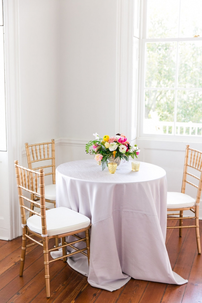 Tables and chairs from EventHaus. Florals by Branch Design Studio. Linens from BBJ Linen. Florals by Branch Design Studio. Photograph by Dana Cubbage Weddings at the Gadsden House.