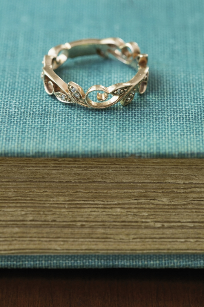 14K rose gold band with leaf and vine designs and diamonds (.10 total cts.), $1,300 from Polly's Fine Jewelry