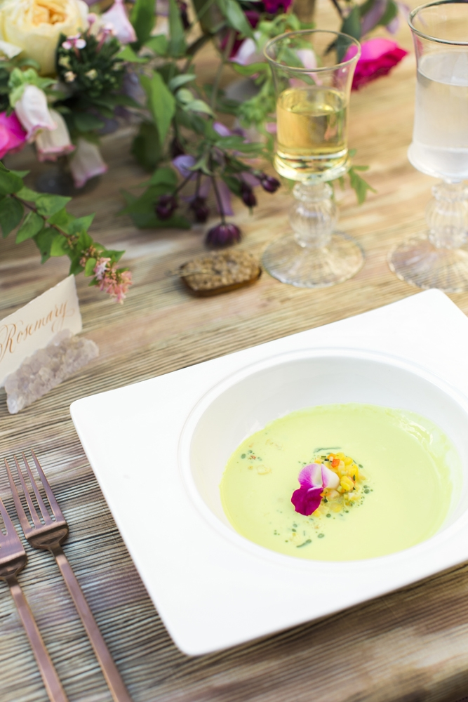 "When planning your menu, include seasonal colors wherever possible. ""I just knew the fresh basil oil and coulis would make for a bright springy pop in the soup course,"" says Calder.  <i>Photograph by Gayle Brooker</i>"